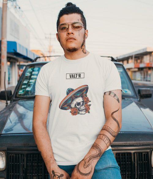 Valt'R | T-shirt homme squelette avec un chapeau mexicain