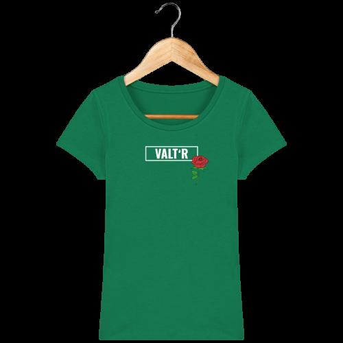 VALT'R | T-shirt femme en coton BIO avec une rose en vert