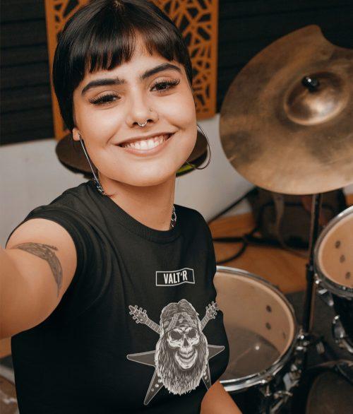 VALT'R   T-shirt femme squelette guitariste