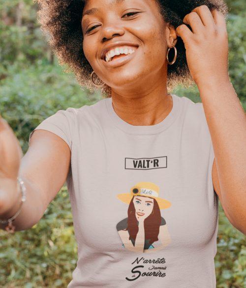 VALT'R | T-shirt femme «N'arrête jamais de sourire»