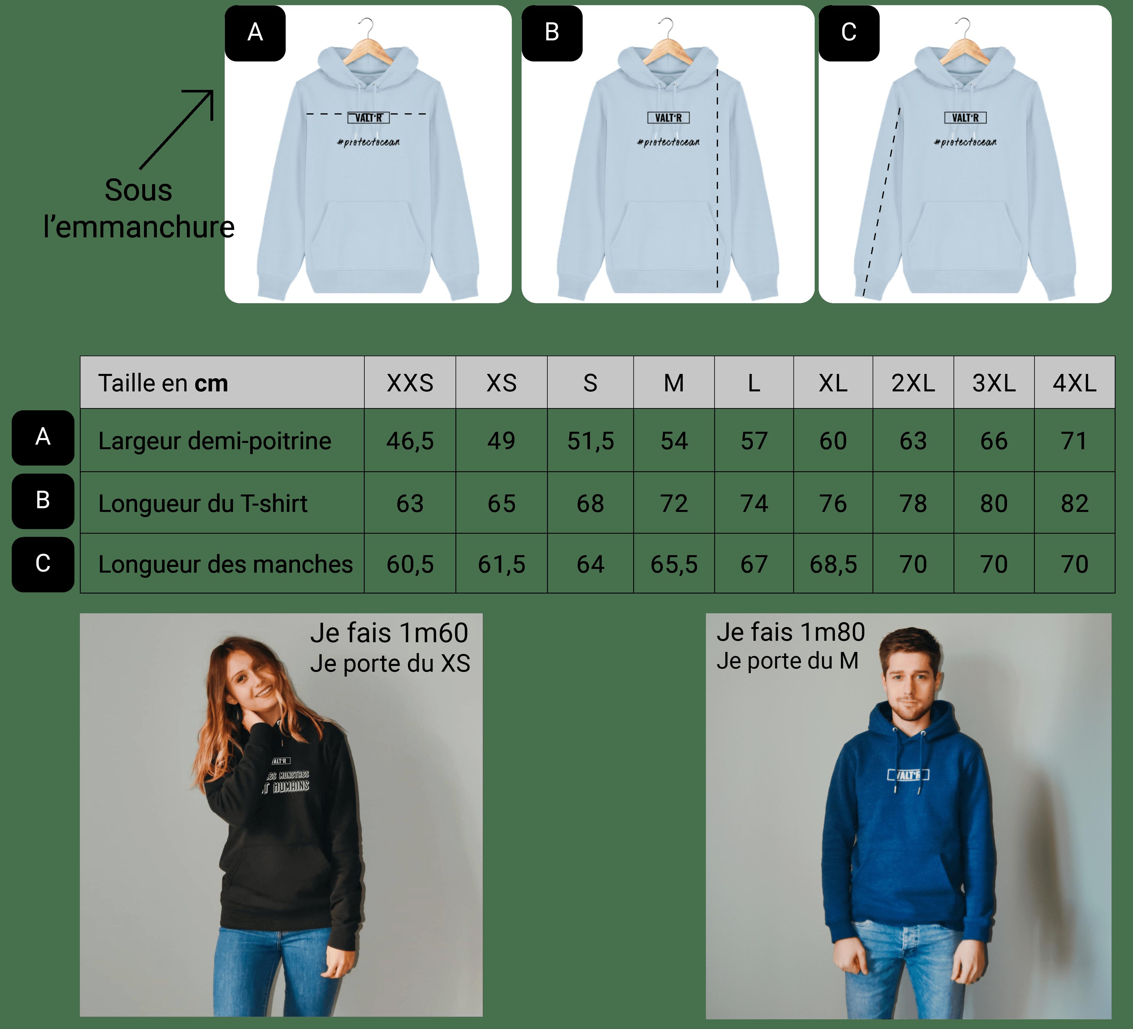 Guide des taille sweats en coton bio