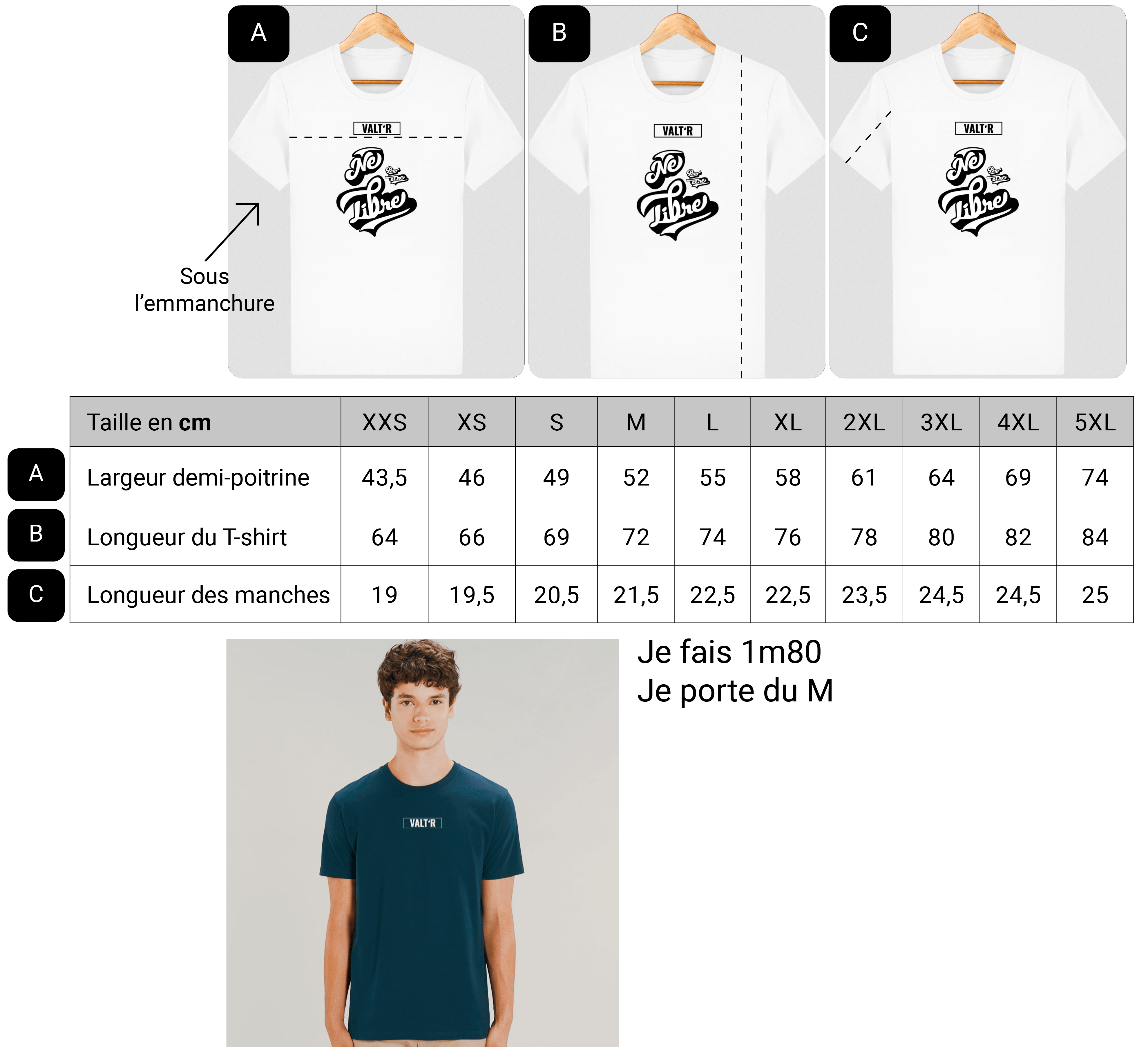 Guide des taille t-shirt en coton bio