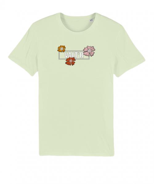 VALTR-T-shirt-vert-pastel-en-coton-bio-homme-fleurs